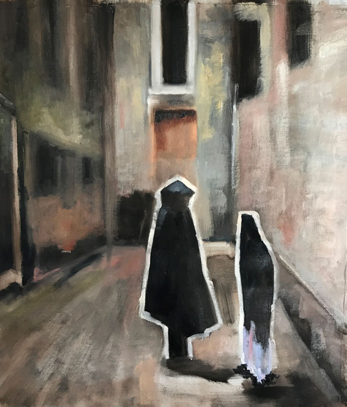 FIGURE - A MEETING (1) - AFTER SARGENT - 70 x 60cm - UNFRAMED - OIL ON CANVAS