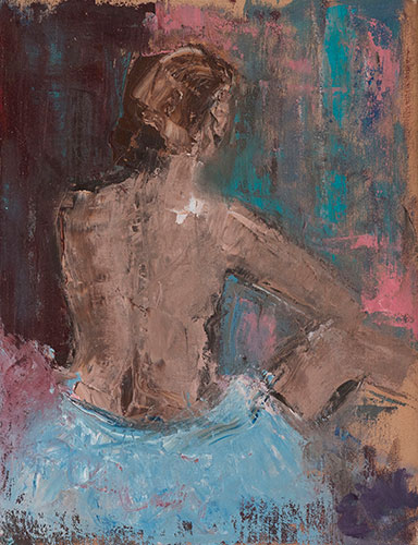 FIGURES - LADY'S BACK - UNFRAMED - 50 X 40cm - oil on canvas