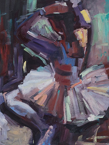 FIGURES - BALLERINA IN BROWN - UNFRAMED - 50 x 40cm - oil on canvas