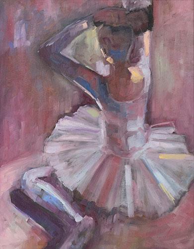 FIGURES - BALLERINA IN DUSTY PINK - UNFRAMED - 50 x 40cm -oil on canvas