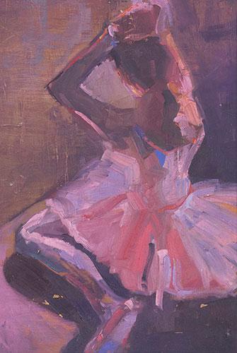 FIGURES - LITTLE BALLERINA IN PINK - UNFRAMED - 36 x 26cm - oil on board