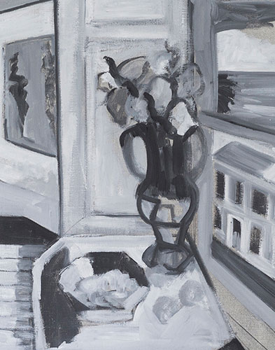STILL LIFE - BLACK & WHITE - AFTER MATISSE - UNFRAMED -53 x 43cm - oil on canvas - CLASS MATERIAL