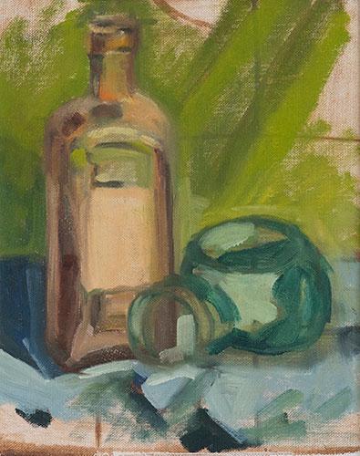 STILL LIFE - BOTTLES ON GREEN - UNFRAMED - 29 x 24cm - oil on board