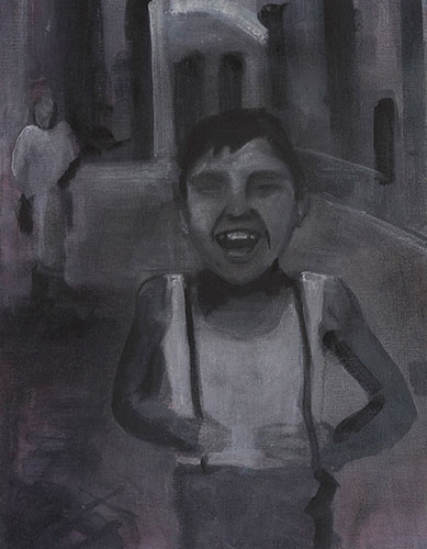 FIGURES - BOY LAUGHING - UNFRAMED - 50 x 40 cm - oil on canvas