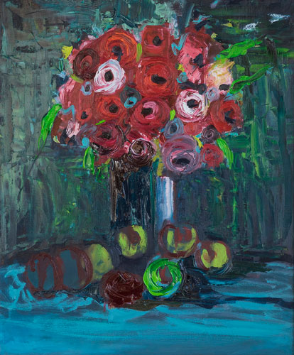ENDING THE AUTUMN WITH UNIVERSAL CIRCLES OF FLOWERS AND APPLES - UNFRAMED - 60 x 50cm - OIL ON BOARD