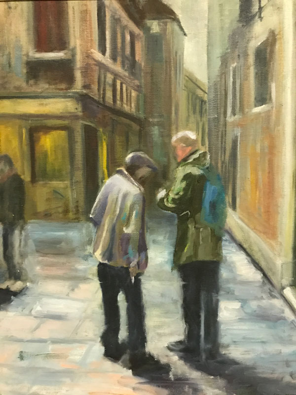 FIGURE - CHATTING IN VENICE - 60 x 50cm UNFRAMED - OIL ON CANVAS