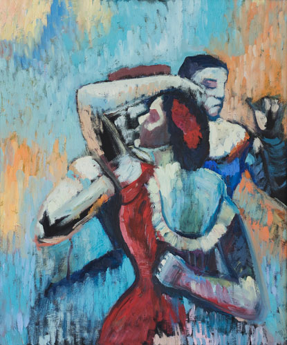 FIGURE - DANCERS IN BLUE AND RED - AFTER DEGAS - UNFRAMED - 60 x 50cm - oil on board