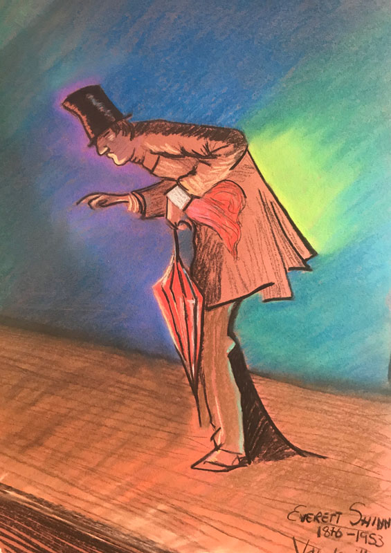FIGURE - SLIDING ACROSS THE STAGE - AFTER SHINN - A2 UNFRAMED - PASTEL