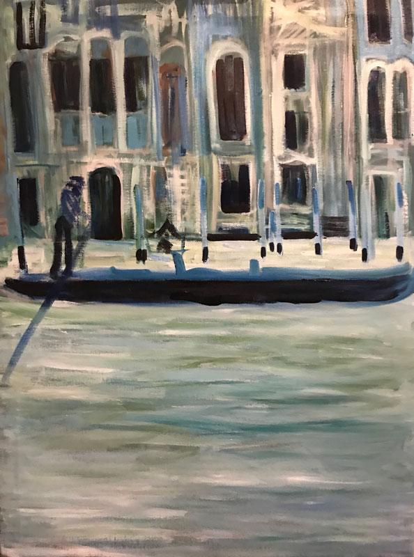CITYSCAPE - FLOATING IN VENICE - 80 x 60cm UNFRAMED - OIL ON BOARD