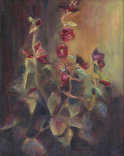 FLORAL - HOLLYHOCKS - UNFRAMED - 50 x 40cm - OIL ON BOARD - GIFTED AWAY