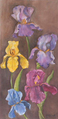 FLORAL - IRIS'S ON BROWN BACKGROUND - UNFRAMED - 60 x 30cm - OIL ON CANVAS - DONATED TO CHARITY