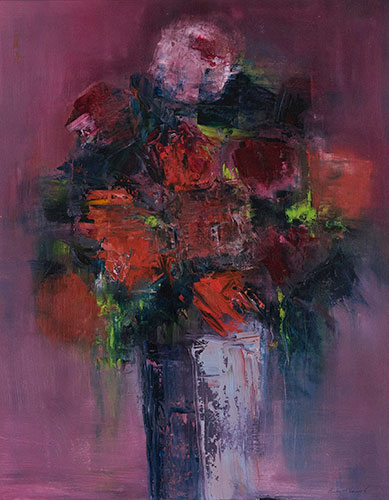 FLORAL - ROSES - UNFRAMED - 50 x 40cm - OIL ON CANVAS