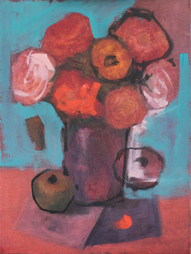 FLORAL - FLOWERS WITH TURQUOISE - UNFRAMED - 40 x 30cm -oil on canvas