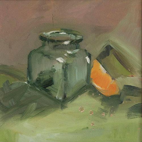 STILL LIFE - LITTLE GLASS JAR - UNFRAMED -22 x 22cm unframed