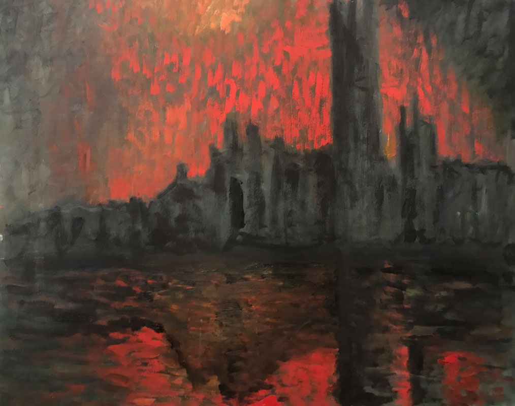 CITYSCAPE - HAUNTING IN RED - AFTER MONET - 50 x 60cm UNFRAMED - OIL ON BOARD
