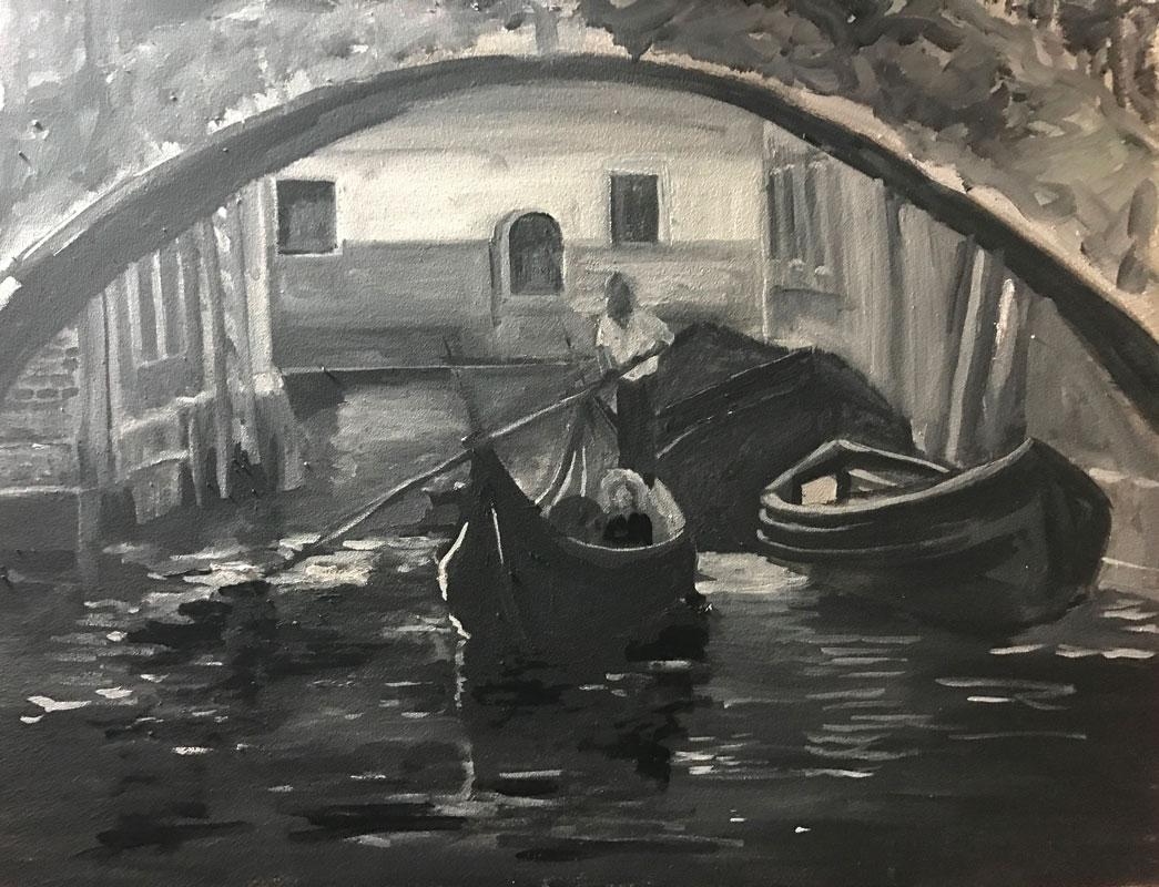 INBOUND IN VENICE - 50 x 60cm UNFRAMED - OIL ON BOARD