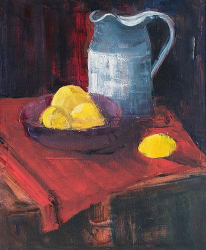 STILL LIFE - JUG AND LEMONS - UNFRAMED - 60 x 50 cm - oil on canvas - with a slight tear