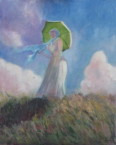FIGURES - LADY WITH UMBRELLA - AFTER MONET - UNFRAMED 51 x 41cm - oil on canvas