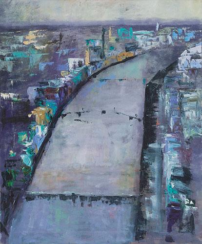 THE LIFFEY - UNFRAMED - 64 x 54cm - oil on canvas