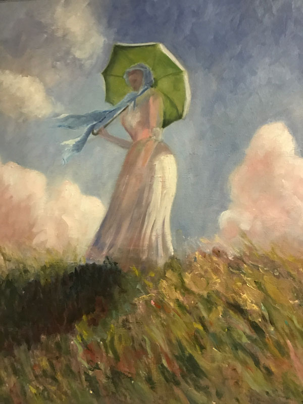 FIGURE - THE LITTLE LADY ON THE HILL - AFTER MONET - 50 x 40cm UNFRAMED -OIL ON BOARD