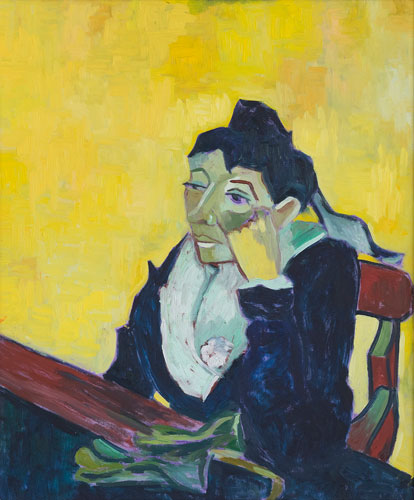 FIGURE - MADAM IN YELLOW - AFTER VAN GOGH - UNFRAMED - 60 x 50cm - oil on board