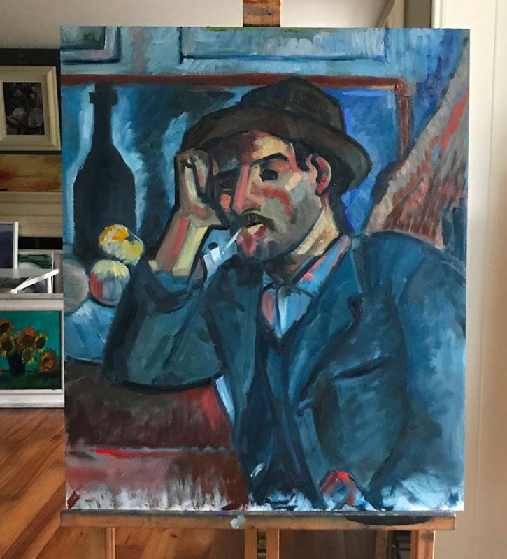 FIGURE - MAN IN BLUE - AFTER CEZANNE - 60 x 50cm UNFRAMED - OIL ON BOARD
