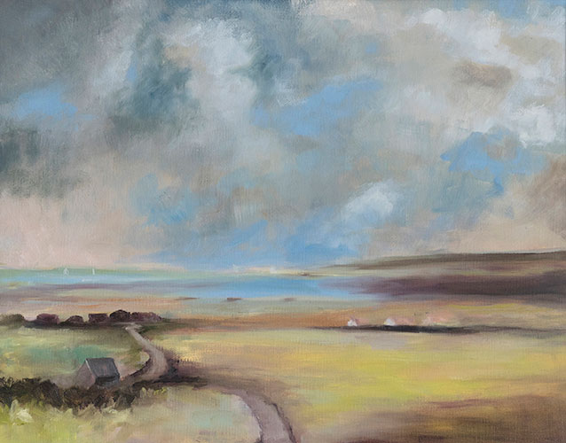 NORFOLK CLOUDS - AFTER SEAGO - UNFRAMED - 40 x 50cm - oil on canvas