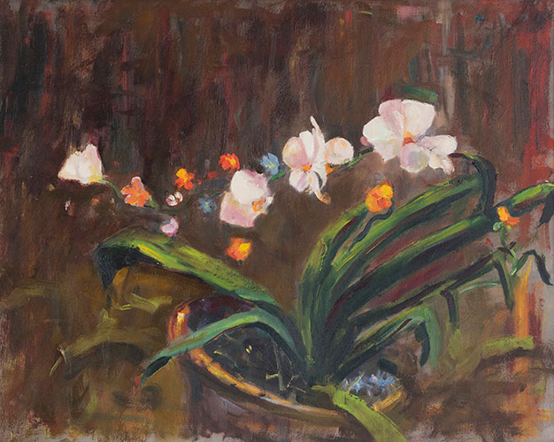 FLORAL - ORCHIDS - UNFRAMED - 49 x 39cm - oil on canvas - after Schmid