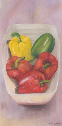 STILL LIFE - PEPPERS IN BOWL - UNFRAMED - 60 x 30cm -oil on canvas