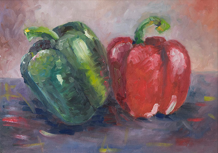STILL LIFE - RED & GREEN PEPPERS - UNFRAMED - 26 x 36cm - oil on board