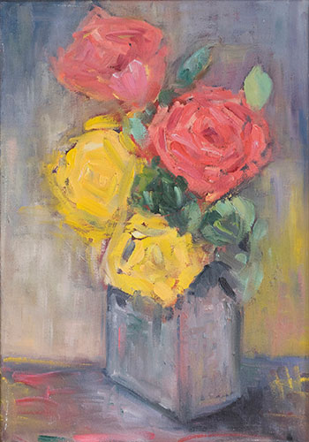 FLORAL - ROSES - UNFRAMED - 36 x 25cm - oil on canvas - NFS