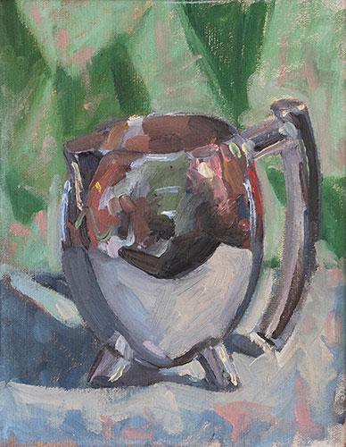 STILL LIFE - LITTLE SILVER JUG - UNFRAMED - 26 x 20cm - oil on canvas