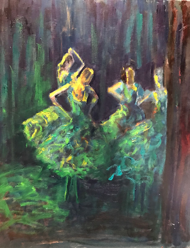 FIGURE - SKIPPED THE LIGHT FANDANGO BALLERINAS - 60 x 50cm UNFRAMED - OIL ON CANVAS