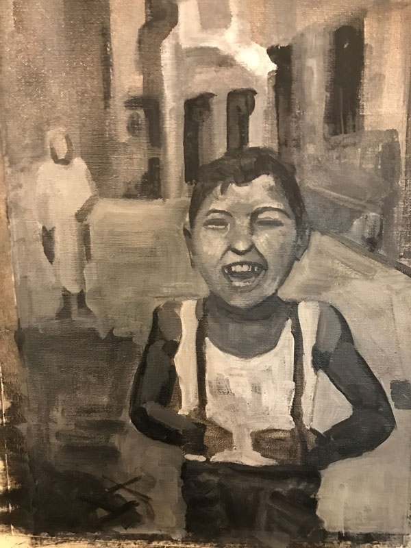FIGURE - THE LAUGHING YOUNG LAD - 50 x 40cm UNFRAMED - OIL ON CANVAS