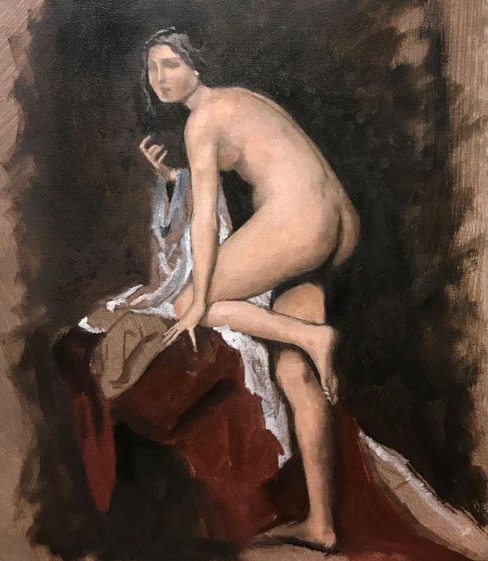 FIGURE - THE LITTLE LADY - AFTER BOUGUEREAU - 50 x 40cm UNFRAMED - OIL ON CANVAS