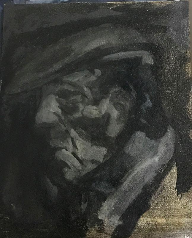 IGURE - THE OLD MAN - 40 x 30cm UNFRAMED - OIL ON BOARD