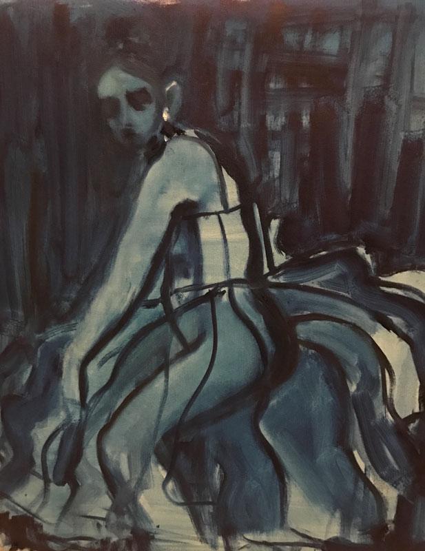 FIGURE - THE PLUMP BALLERINA SERIES - (3) - 80 x 70cm UNFRAMED - OIL ON CANVAS