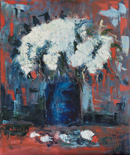 FLORAL - WHITE FLOWERS - UNFRAMED - 60 x 50cm- OIL ON CANVAS