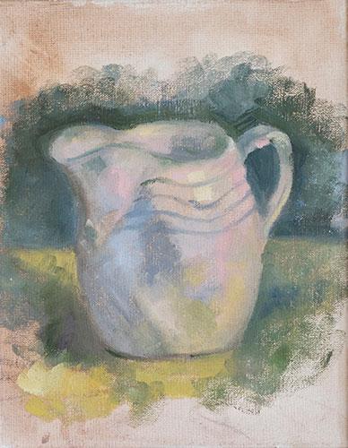 STILL LIFE - LITTLE WHITE JUG - UNFRAMED - 26 x 20cm - oil on canvas