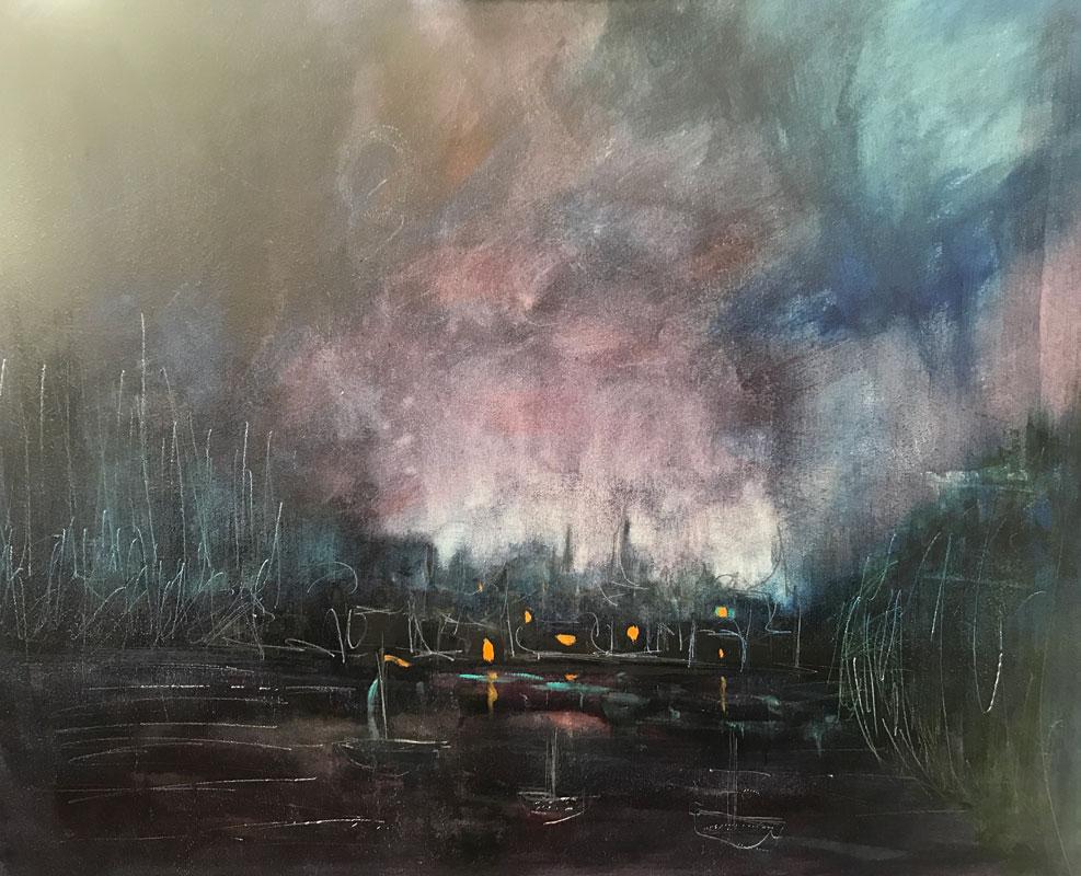 CITYSCAPE - WILD NIGHT - 50 x 60cm UNFRAMED - OIL ON BOARD