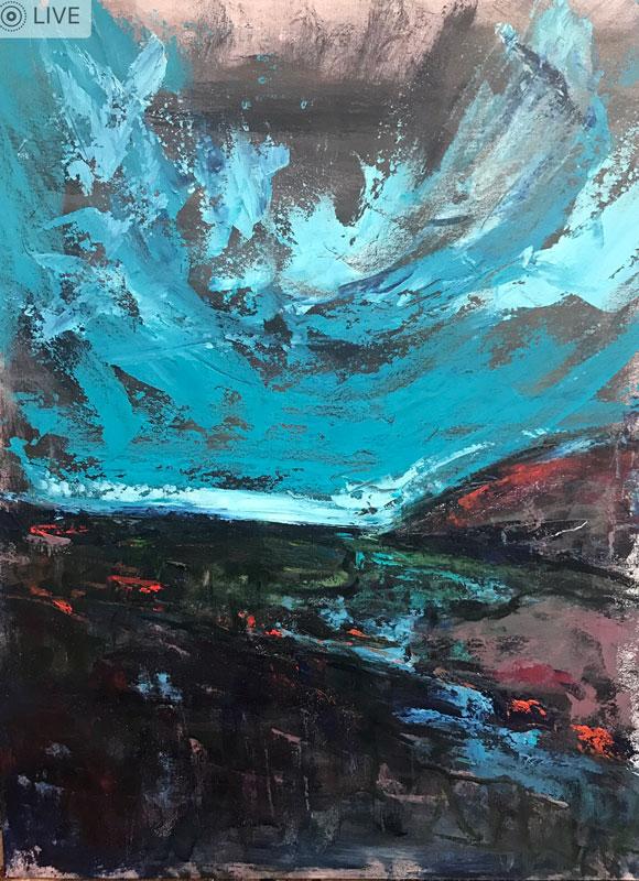 LANDSCAPE - A BLUE HORIZONE - 60 x 50cm UNFRAMED- OIL ON BOARD