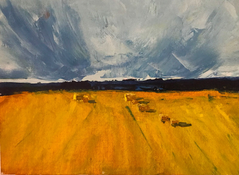 LANDSCAPE - BALES OF HAY - 30 x 40cm UNFRAMED - AFTER THOMPSON - OIL ON CANVAS