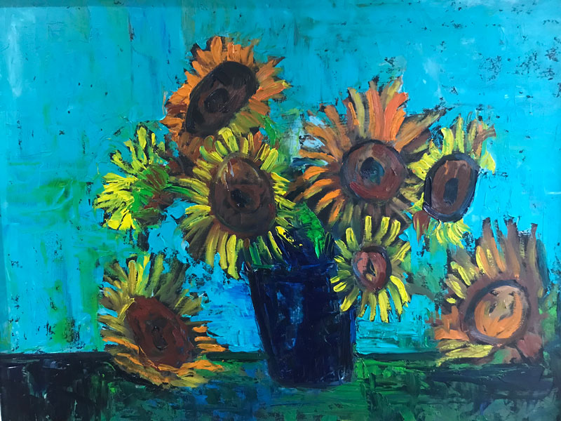 FLORAL - END OF THE SEASON SUNFLOWERS - 50 x 60 UNFRAMED - OIL ON BOARD