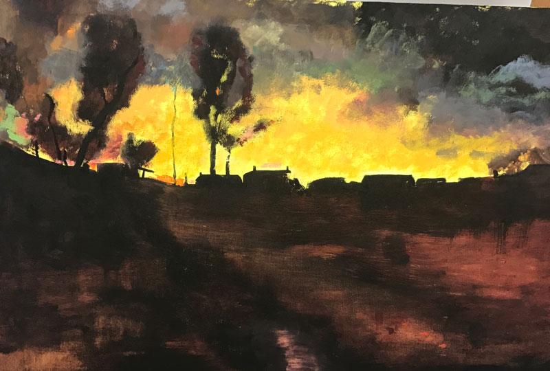 LANDSCAPE - EVENING DRAWS IN - AFTER MURPHY - 50 x 60cm UNFRAMED - OIL ON BOARD