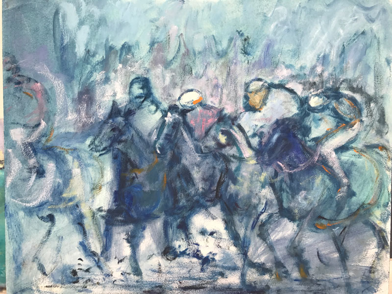 HORSES - AND THEY ARE OFF (1)- 50 x 60cm UNFRAMED - OIL ON CANVAS