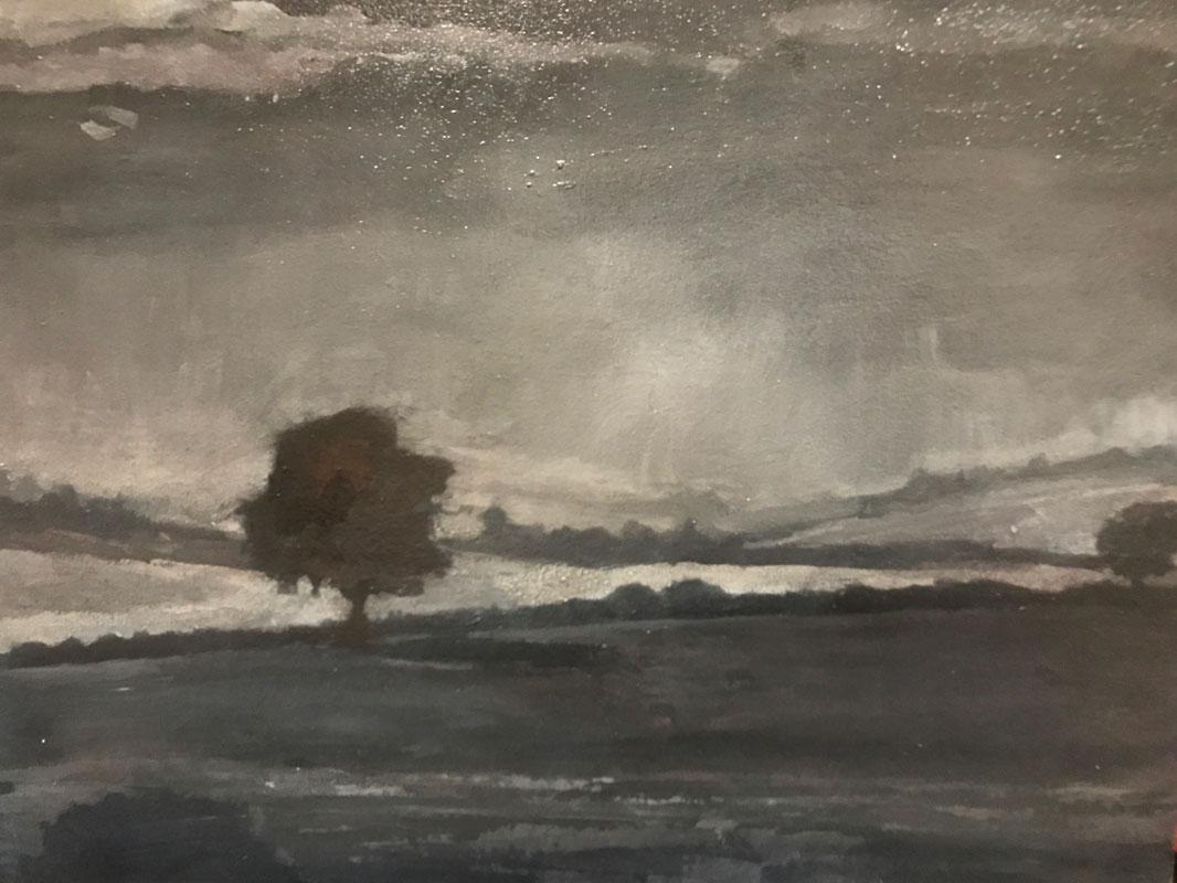 LANDSCAPE - SITTING ALONE - 30 x 40cm UNFRAMED - OIL ON BOARD
