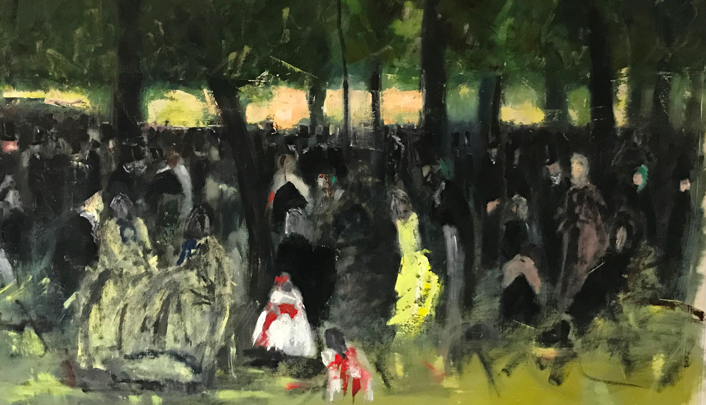 LANDSCAPE - THE GATHERING IN THE PARK - AFTER MANET - 100 x 70cm - OIL ON CANVAS