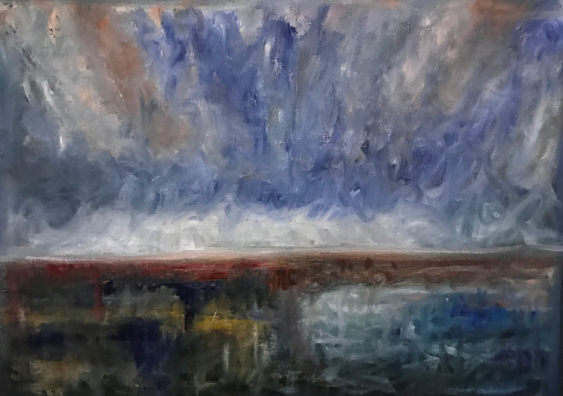 LANDSCAPE - UNSETTLED - 50 x 50cm UNFRAMED - OIL ON CANVAS