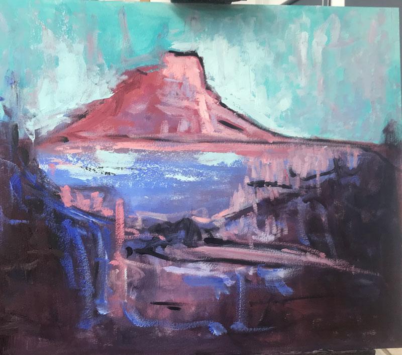 LANDSCAPE - MONT SAINTE VICTORIA (1) - AFTER CEZANNE - 50 x 60cm UNFRAMED - OIL ON BOARD