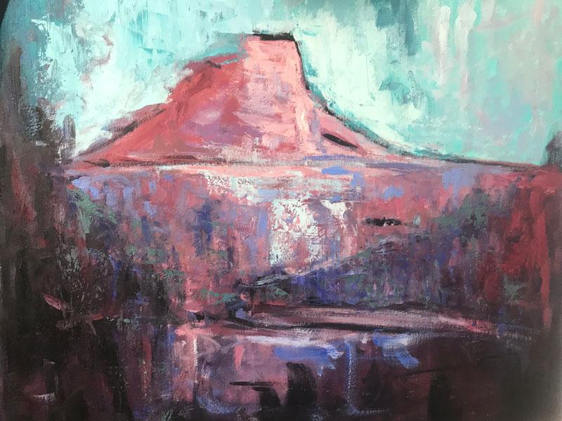 LANDSCAPE - MONT SAINTE VICTORIA (2) - AFTER CEZANNE - 50 x 60cm UNFRAMED - OIL ON BOARD